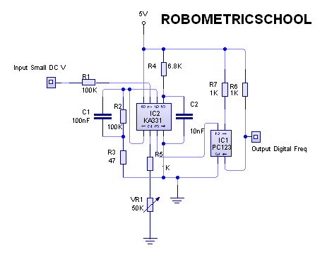 Electronic Circuit Schematic Analog to Frequency Converter using KA331 and Optocoupler PC123 - schematic