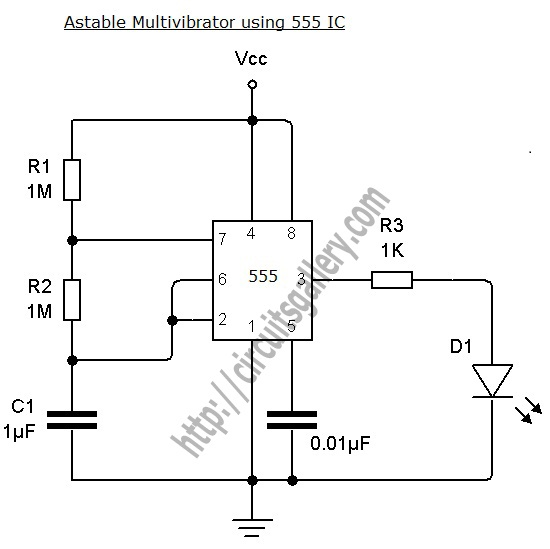 astable multivibrator using ne 555 timer ic under repository-circuits