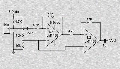 Condenser Pre Amplifier LM 1458 - schematic
