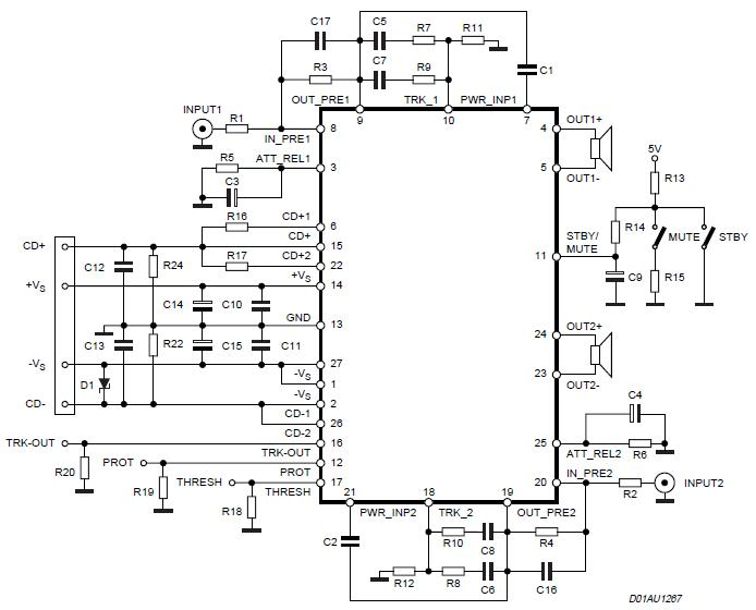 140w amplifier circuit   2x 70 watt   schematic diagram