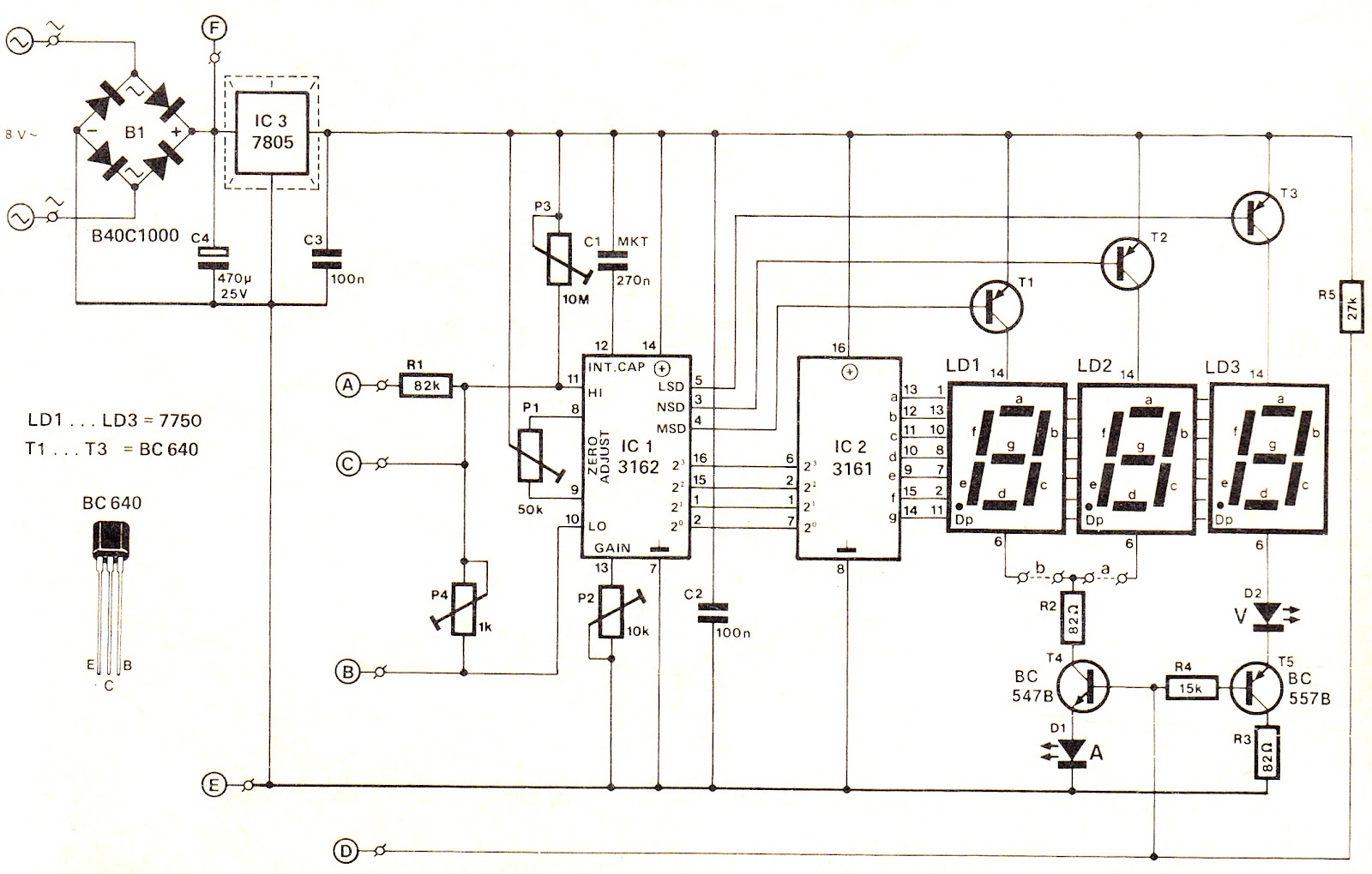 simple digital voltmeter circuit diagram using ca3162 and ca3161