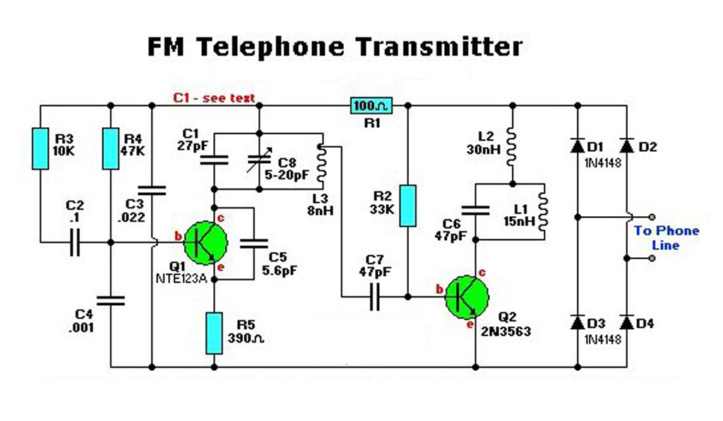 schematic diagram electronic fm telephone transmitter circuit