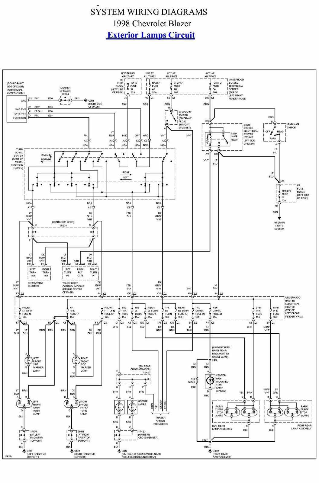 Exterior%2BLamp%2BCircuit%2BDiagram%2BOf%2B1998%2BChevrolet%2BBlazer wiring diagram for brake switch connector for a 1998 chevy  at creativeand.co