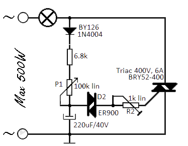 flashing-light-uses-triacs.html - schematic