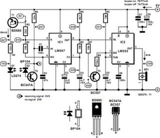 Infrared Proximity Detector Alarm - schematic