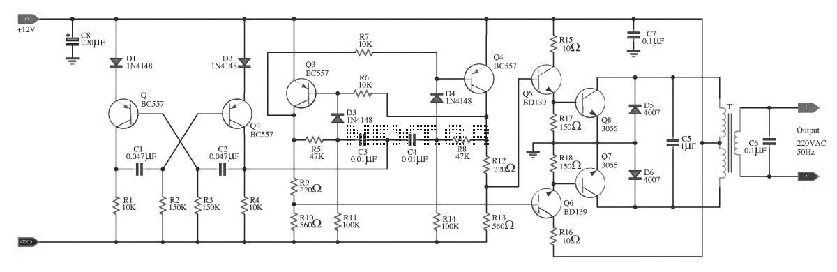 100w inverter circuit - schematic