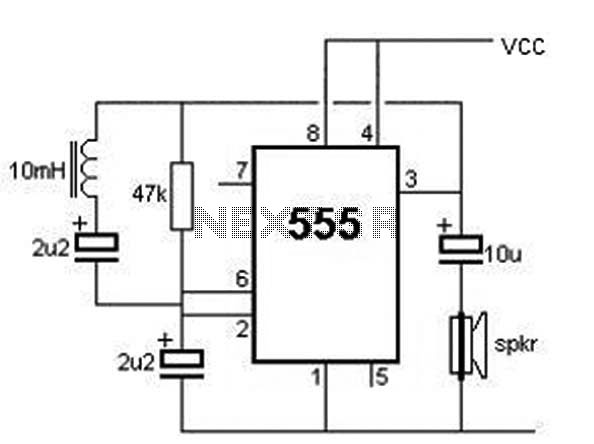 Metal detector using 555 timer - schematic