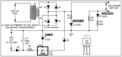 mobile phone battery charger circuit - schematic