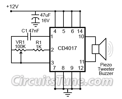 Ultrasonic Mosquito RepellerCircuit by CD4017 - schematic