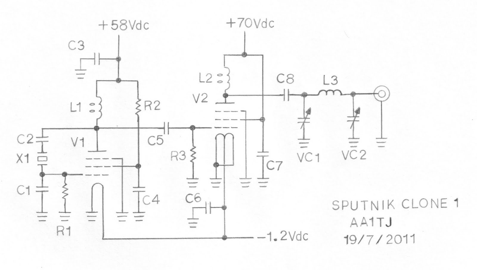 Sputnik QSO Party Transmitter Prototype - schematic