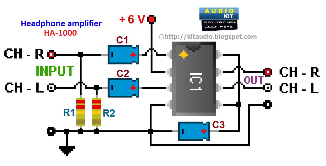 Low Cost Audio Headphone  lifier L29088 on tone control preamp schematic