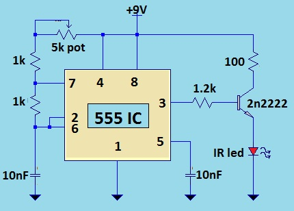 tv remote jammer using 555 ic - schematic