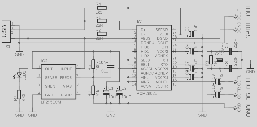 usb audio interface based dac pcm2902 - schematic