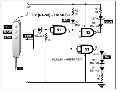 ttl three state logic probe circuit - schematic