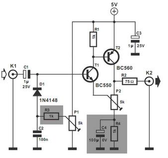 Simple Video Amplifier - schematic