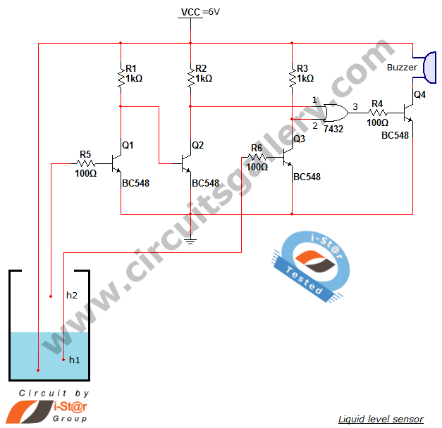 Water level sensor circuit: projects for school students - schematic