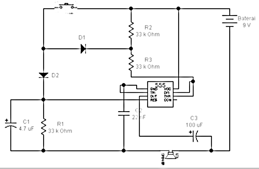 Doorbell with IC555 - schematic