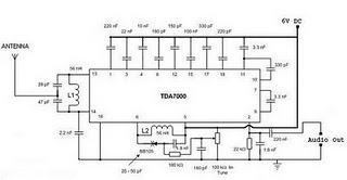 TDA7000 Single Chip FM Radio - schematic