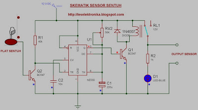 Electronic Circuit Schematic of Touch Sensor using NE555 Based Proteus Software Simulation - schematic