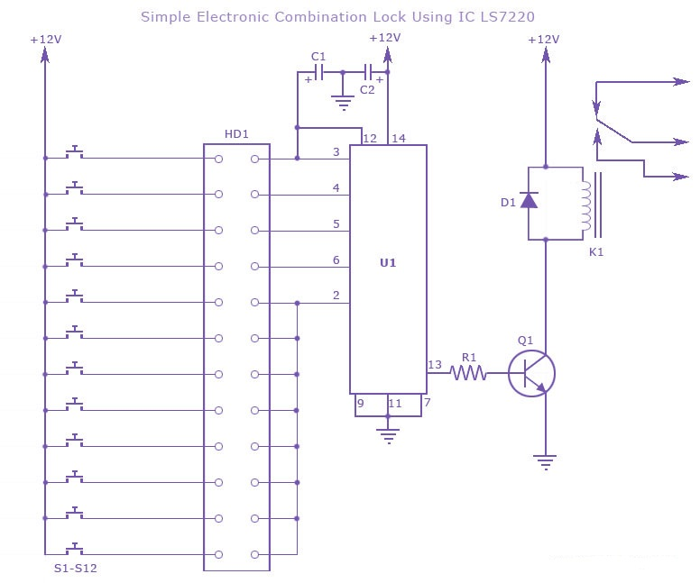 electronic combination lock circuit - schematic