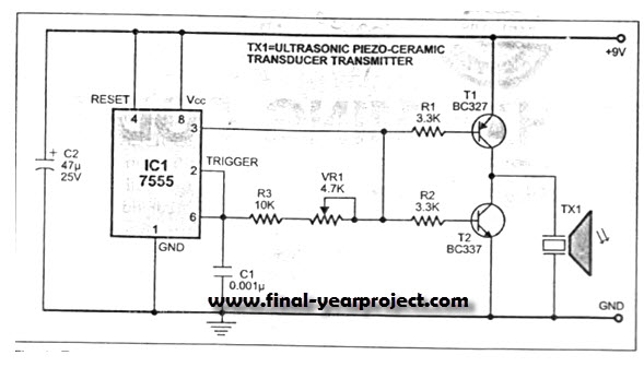 Ultrasonic Proximity Detector Electrical Project - schematic