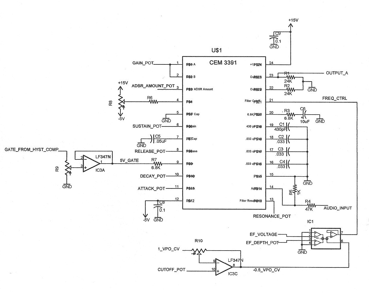 An Analog Guitar Synthesizer Based Around The Roland GR-300 - schematic