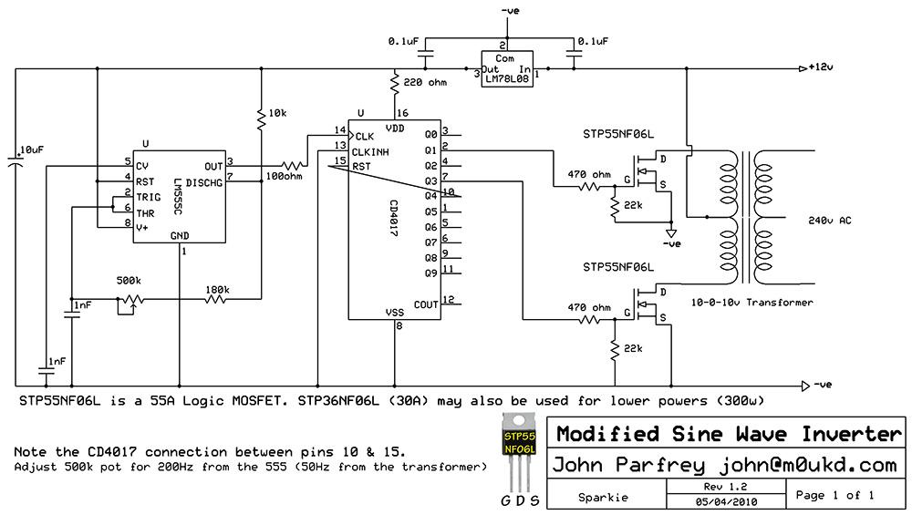500w Modified Sine Wave Inverter Schematic - schematic