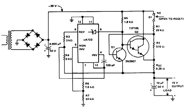 15 volt 1 Amp regulated power supply circuit - schematic