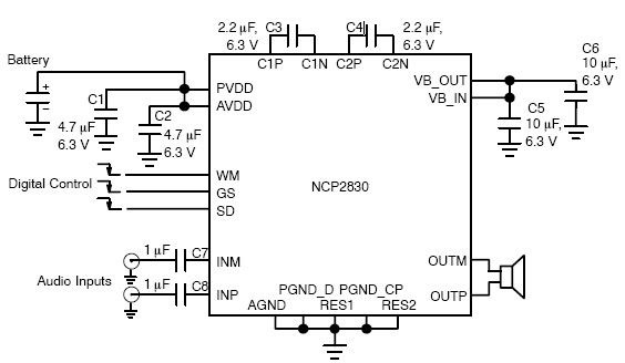1w audio amplifier circuit using ncp2830 - schematic