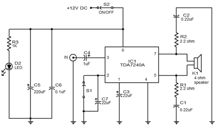 20w rangkaian audio amplifier tda7240 - schematic