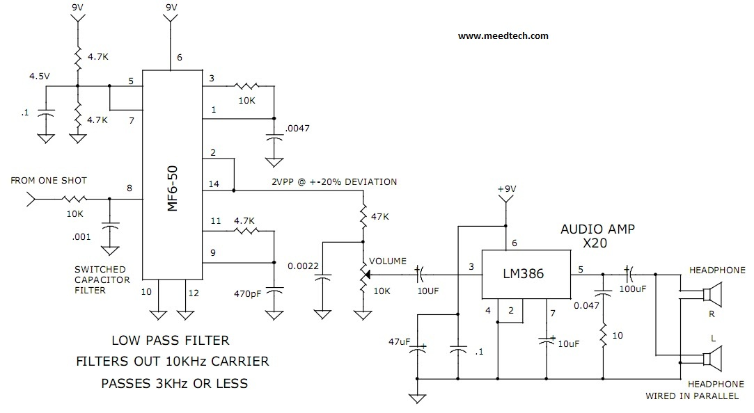 3khz low pass filter and audio amplifier - schematic