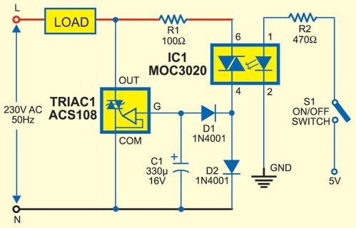 AC-Switch-Control-with-Opto-Triac-Circuit-diagram6 Ac Switch Schematic on