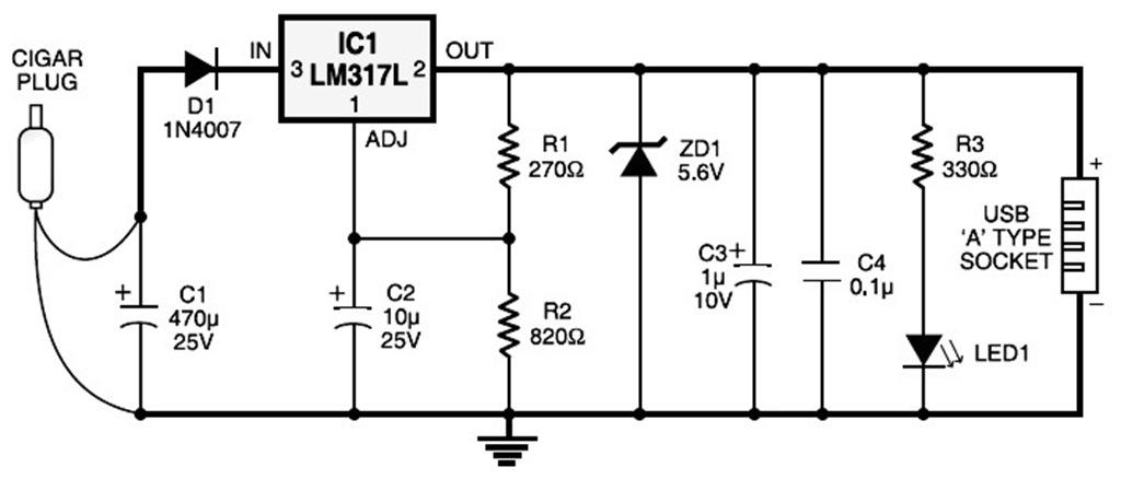 gt circuits gt car cigar lighter to usb power socket circuit l47466 next gr