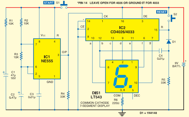 digital dice with 7 segment display - schematic