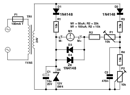 powerline voltmeter - schematic