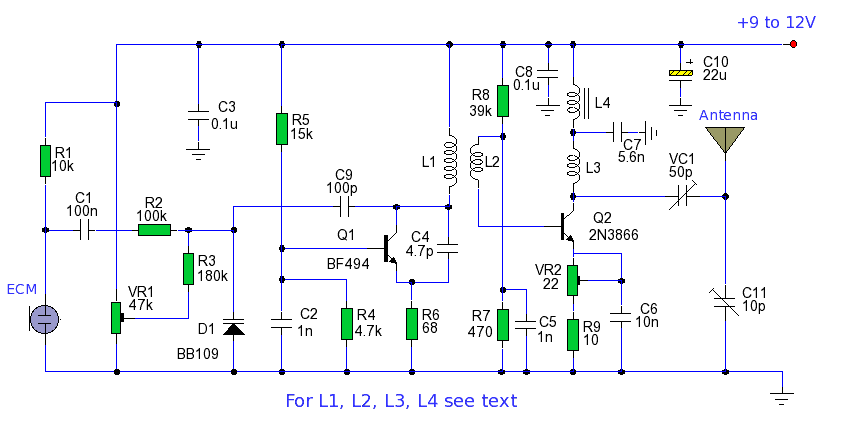 simple long range fm transmitter - schematic