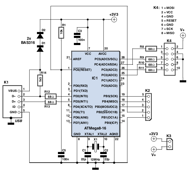 simple usb avr isp compatible programmer - schematic