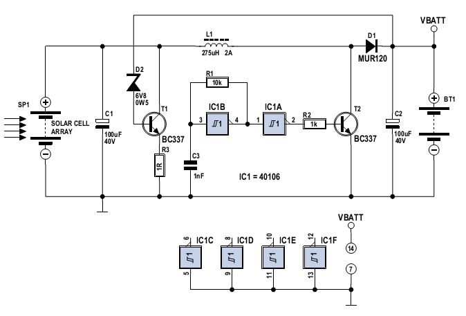 solar cell array charger with regulator - schematic
