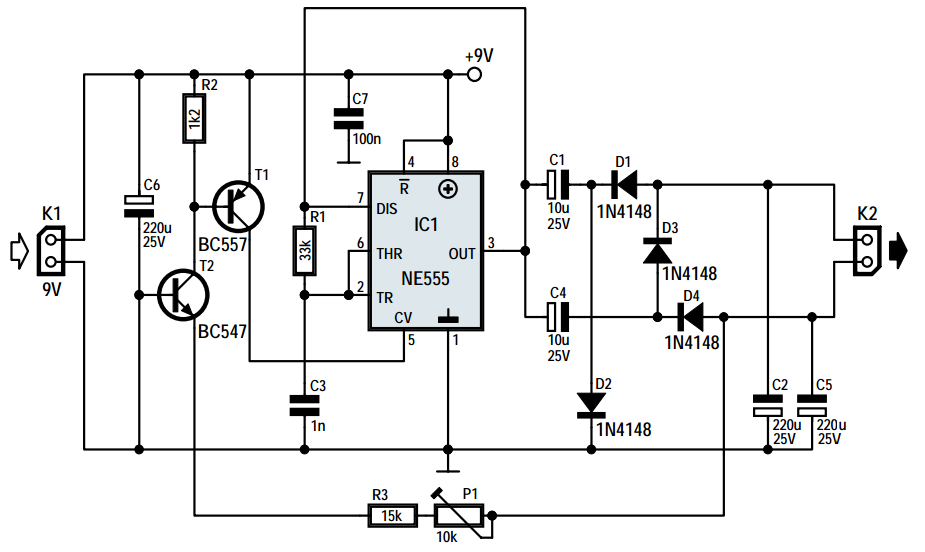voltage inverter using ic ne555