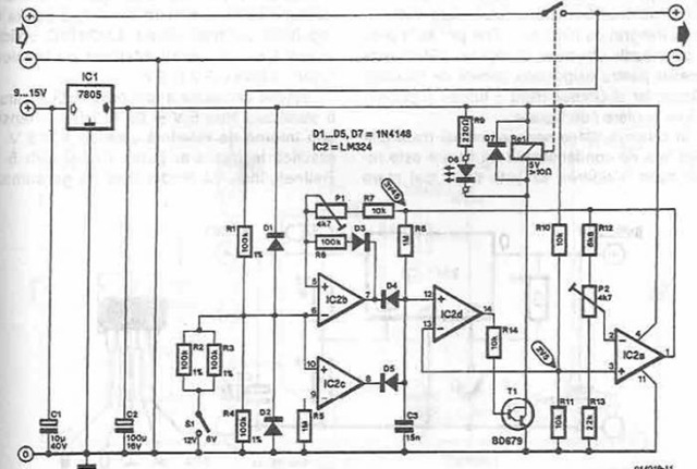autoconnect disconnect battery charger - schematic