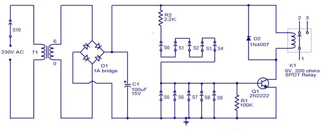 one transistor code lock schematic - schematic