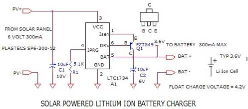 solar powered lithium ion battery charger - schematic
