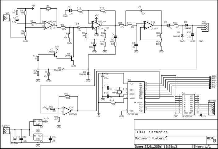 Disco light effect with PIC16F84A - schematic