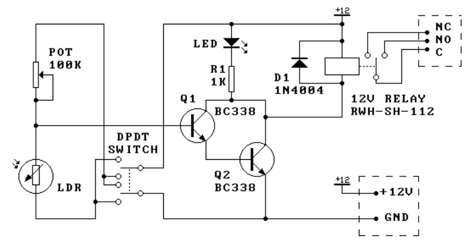 Light/dark relay switch - schematic