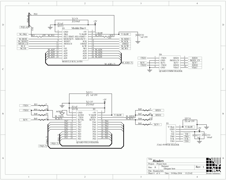 QCard Controller 68HC11 Processor - schematic