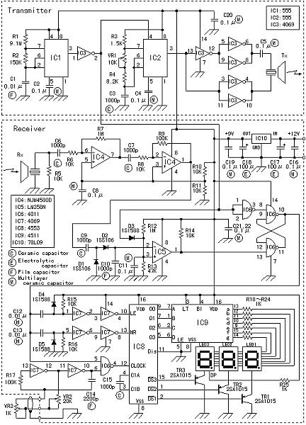 circuit for ultrasonic parking sensor - schematic