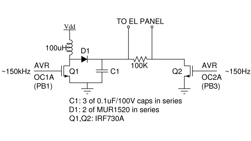 LCD Backlight Electro luminescent Inverter - schematic