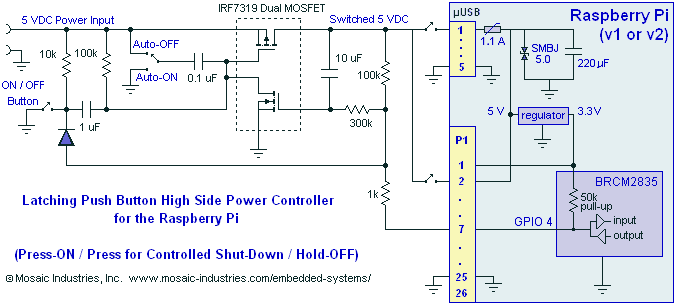 Raspberry Pi ON/OFF Power Controller MOSFET Switch - schematic