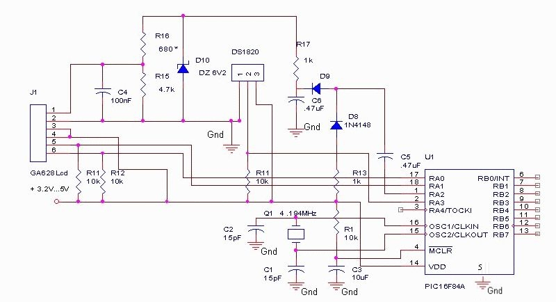 DS1820 thermometer circuit
