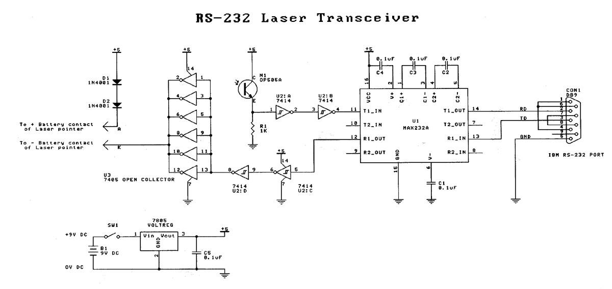 RS-232 Laser Transciever circuit - schematic